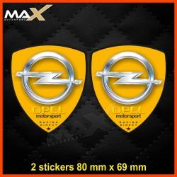 2 sticker decals OPEL MOTORSPORT Yellow