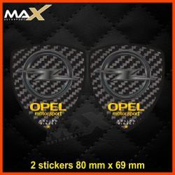 2 sticker decals OPEL MOTORSPORT Carbon look
